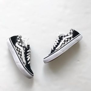 Vans lace up checkered sneakers VGUC  size 2 youth